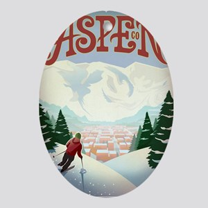 Retro Aspen Colorado Oval Ornament