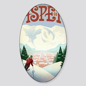 Retro Aspen Colorado Sticker (Oval)