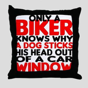 Only a Biker Throw Pillow