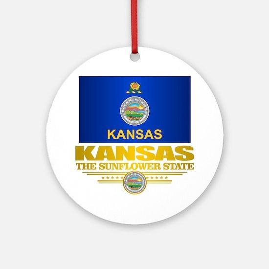 Kansas Pride Round Ornament