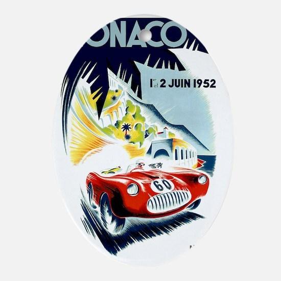 Antique 1952 Monaco Grand Prix Race  Oval Ornament
