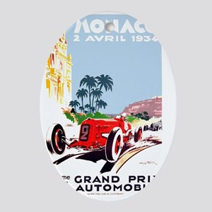 Antique 1934 Monaco Grand Prix Race  Oval Ornament