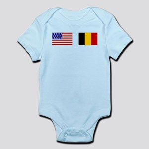 USA & Belgian Flags Infant Bodysuit