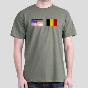 USA & Belgian Flags Dark T-Shirt