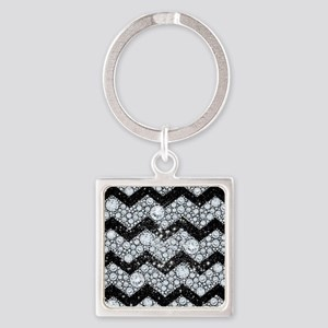 Chevron Diamond and Stars Square Keychain