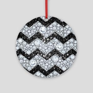 Chevron Diamond and Stars Round Ornament