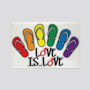 Love Is Love Flip Flops Gay Rectangle Magnet