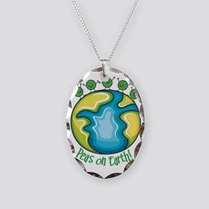 Peas on Earth Necklace Oval Charm
