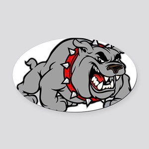 grey bulldog Oval Car Magnet