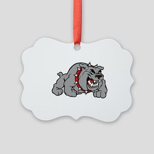 grey bulldog Picture Ornament
