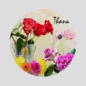 Thank You Flowers In Vase Round Ornament
