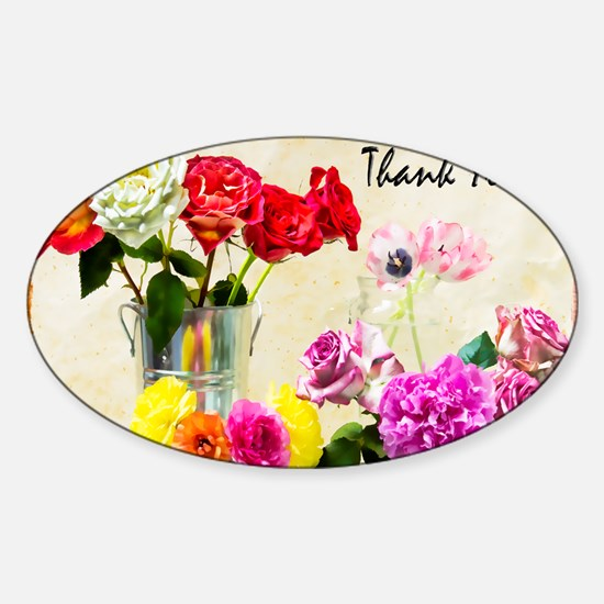 Thank You Flowers In Vase Sticker (Oval)