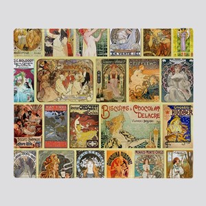 Art Nouveau Advertisements Collage Throw Blanket