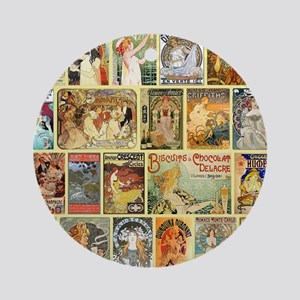 Art Nouveau Advertisements Collage Round Ornament