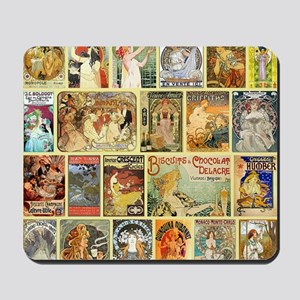 Art Nouveau Advertisements Collage Mousepad