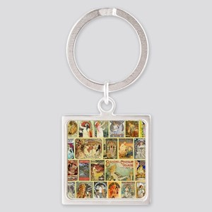 Art Nouveau Advertisements Collage Square Keychain