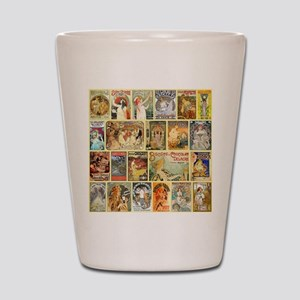 Art Nouveau Advertisements Collage Shot Glass