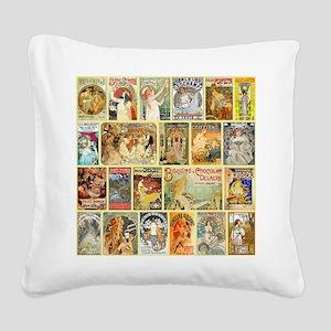 Art Nouveau Advertisements Co Square Canvas Pillow