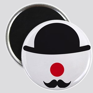 hat, red nose and mustache, clown face desi Magnet