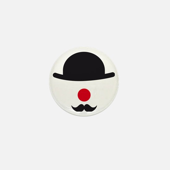 hat, red nose and mustache, clown face Mini Button