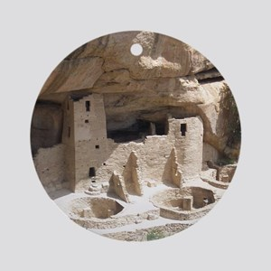 Mesa Verde Indian Cliff Dwellings Round Ornament