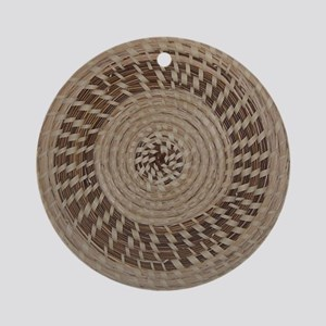 Sweetgrass Basket Design Round Ornament