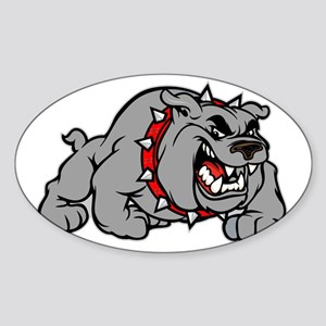 grey bulldog Sticker (Oval)