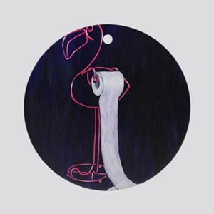 Flamingo TP Holder Round Ornament