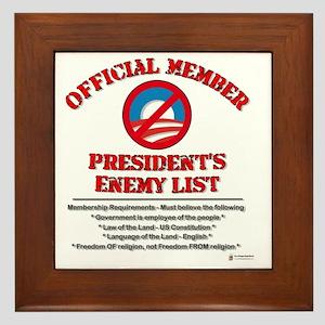 Presidents enemy list Framed Tile