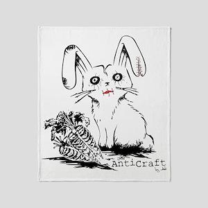 Zombie Bunny Rabbit with Skeleton Ca Throw Blanket