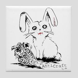 Zombie Bunny Rabbit with Skeleton Car Tile Coaster