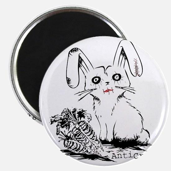 Zombie Bunny Rabbit with Skeleton Carrots Magnet