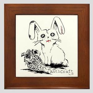 Zombie Bunny Rabbit with Skeleton Carr Framed Tile