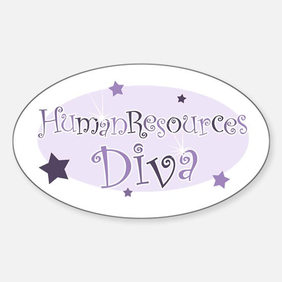 """""""Human Resources Diva"""" [purpl Oval Decal"""