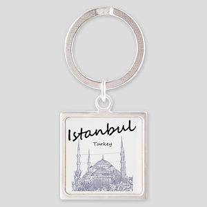 Istanbul_12X12_BlueMosque_Black Square Keychain