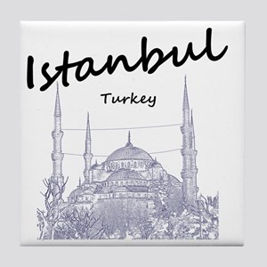 Istanbul_12X12_BlueMosque_Black Tile Coaster