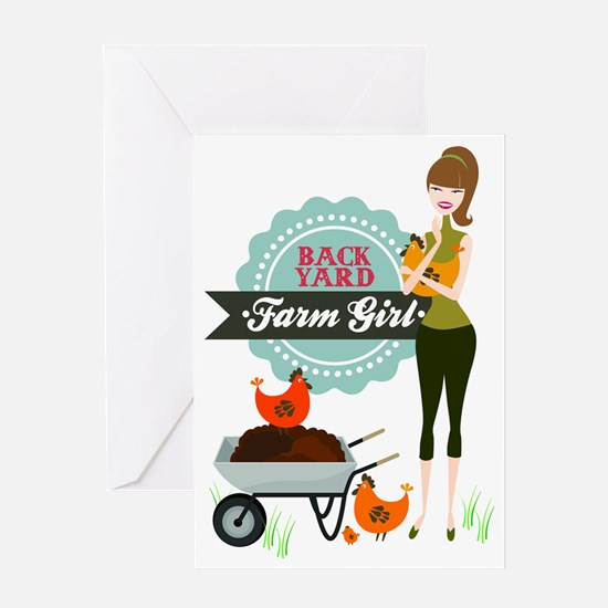 Backyard Farm Girl Greeting Card