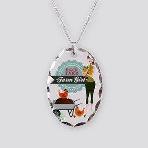 Backyard Farm Girl Necklace Oval Charm