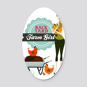 Backyard Farm Girl Oval Car Magnet