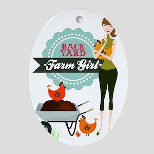 Backyard Farm Girl Oval Ornament