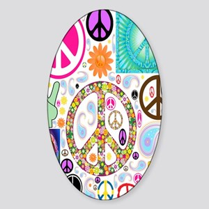 Peace  Paisley Collage FF Sticker (Oval)