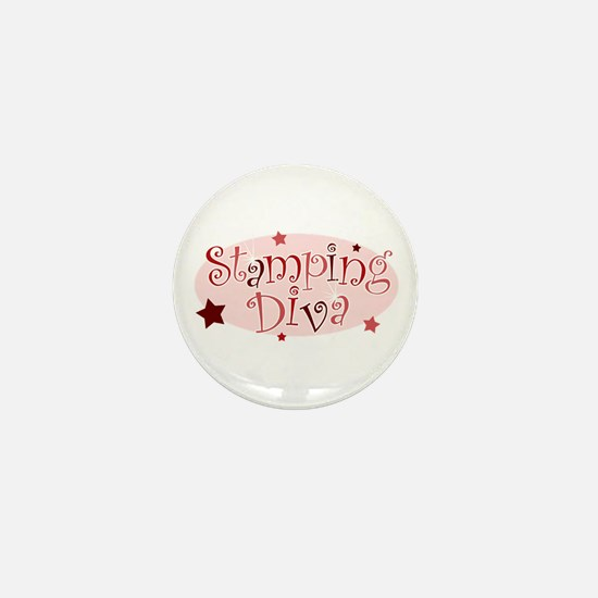 """Stamping Diva"" [red] Mini Button"