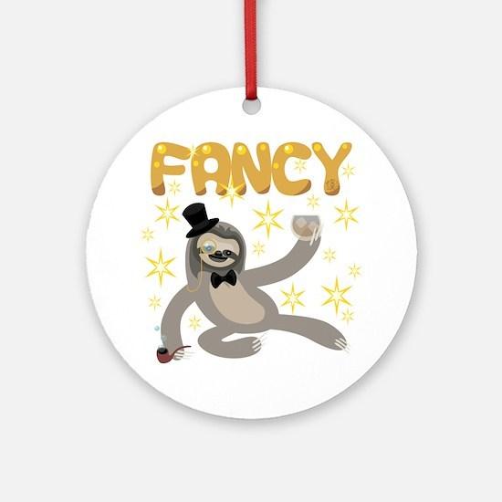 Fancy Sloth Round Ornament