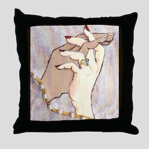 Holding Hands Under Linen Throw Pillow
