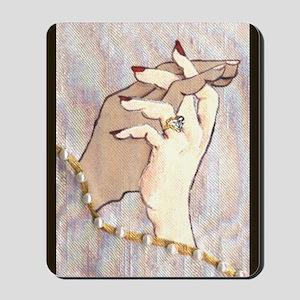 Holding Hands Under Linen Mousepad