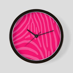 Two Pinks Zebra Stripes Wall Clock