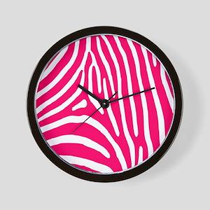 Bright Pink Zebra Stripes Wall Clock