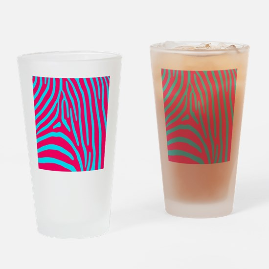 Aqua and Pink Zebra Stripes Drinking Glass