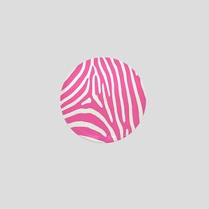 Hot Pink and White Zebra Stripes Mini Button