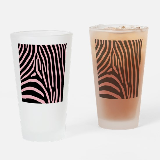 Pink Zebra Stripes Drinking Glass